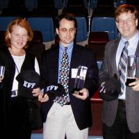 Kim Alexander, Avi Rubin and David Dill receiving EFF's 2004 Pioneer Award